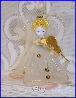 Vintage Mercury Balls Chenille Cotton Face Angel Christmas Tree Germany ORNAMENT