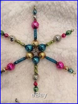 Vintage Mercury Glass Bead Christmas Feather Tree Snowflake Icicle Ornaments