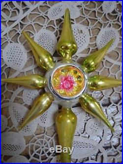 Vintage Mercury Glass Christmas Tree Topper 7 Point Star Made In Germany
