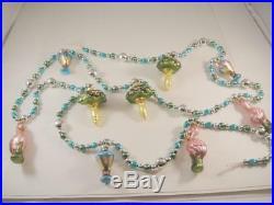 Vintage Mercury Glass FlamingosPalm TreesDrinks Christmas Garland 72 VGC