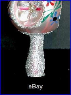 Vintage Mercury Glass Tree Topper Shades Of Pinks Christmas Bubble