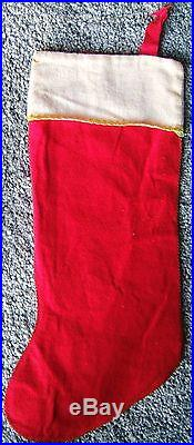 Vintage Merry Christmas Felt Stocking Santa Snowman Trees Candle Gifts 1950s