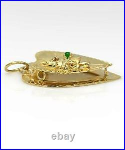 Vintage Merry Christmas Tree Double Heart Pendant In 14k Yellow Gold
