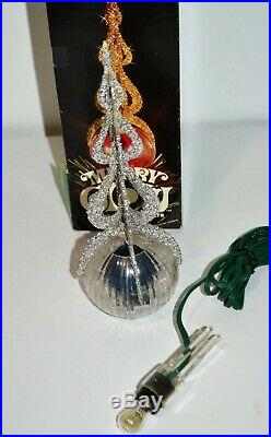 Vintage Merry Glow Christmas Rotating Ornament Tree Topper Minaret Rare Blue
