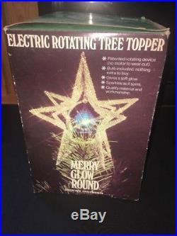 Vintage Merry Glow Sputnik Star/ Rotating Christmas Tree Topper in Original Box