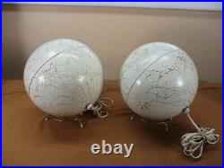 Vintage Metal Aluminum Christmas Tree Spotlights Lamps on Stands Orb Eye