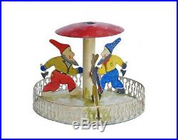 Vintage Metal Christmas Tree stand 3 Dwarfs with Axe ca. 1930 (# 6355)