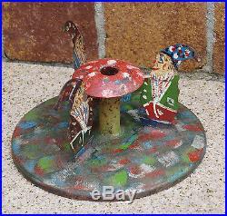 Vintage Metal Christmas Tree stand Dwarfs first half 20th century (# 3382)