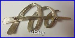 Vintage Metalist Modernist Signed JJ 1986 Christmas Tree Silver Tone Pin Brooch