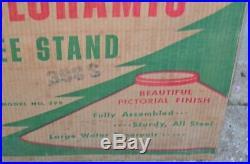 Vintage Mid Century 1950's Poloron Coloramic Tin Christmas Tree Stand #398