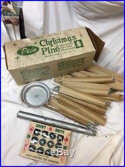 Vintage Mid Century 2 Ft. Gleming Shiny Aluminum Silver Christmas Tree, Org Box