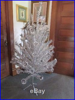 Vintage Mid Century 6 Foot Aluminum Silver Christmas Tree EVERGLEAM 73 branches
