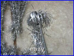 Vintage Mid-Century Aluminum Pom Pom Christmas Tree with110 Branches, Pole 5' foot