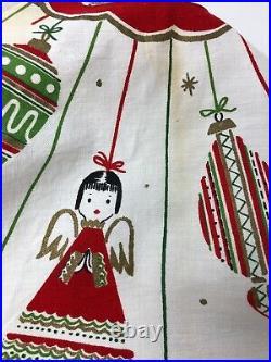 Vintage Mid Century Christmas Tree Skirt Shiny Brite Ornaments Angels Snowflakes