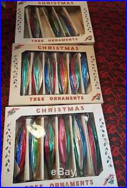 Vintage Mid Century Mica Glass Mercury Teardrop Christmas Tree Ornaments Poland