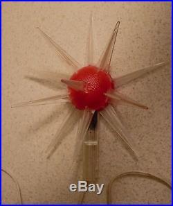 Vintage Mid Century Modern Atomic Sputnik Star Christmas Tree Topper Red