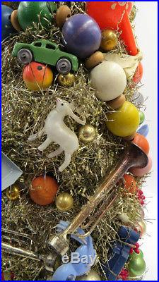 Vintage Mid Century Tinsel Toys Composition Wood Bead Musical Christmas Tree