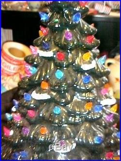 Vintage Mid Century Two-piece Ceramic Light Up Christmas tree Beautiful tree