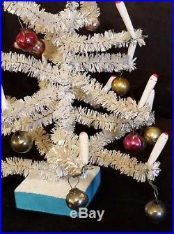 Vintage Miniature White Christmas Tree feather bottle brush doll house Japan
