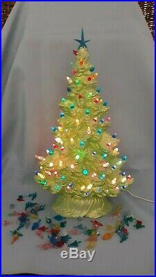 Vintage Mint Green Light Up Ceramic Christmas Tree Rare Narrow Design 16
