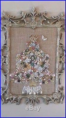 Vintage & Mixed Era Costume Jewelry Christmas Tree Timeless Treasure, 29 x 19