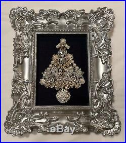 Vintage Mod Rhinestone Jewelry Christmas Tree Framed Picture