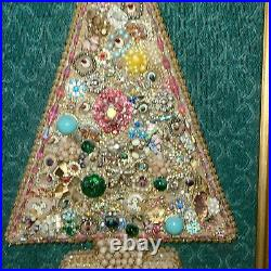 Vintage Mod Rhinestone Jewelry Lighted Christmas Tree Framed Picture 23x17