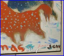 Vintage Modernist Horses & Christmas Trees Painted Card To Maude & Gifford Beal