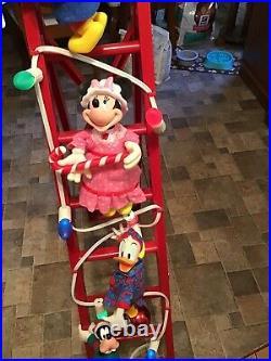 Vintage Mr Christmas Disney Mickeys Tree Trimmers Animated Decor Ladder 1994