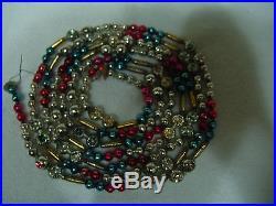 Vintage Multi Color Mercury Glass Bead Christmas Tree Garland, Indents