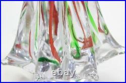 Vintage Murano Art Glass Christmas Tree Red White Green Swirls 7 1/2 Mid Cen