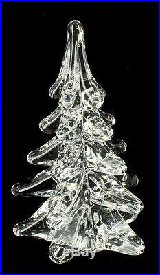 Vintage Murano Clear Solid Art Glass Christmas Tree Winter Holiday Decoration 5