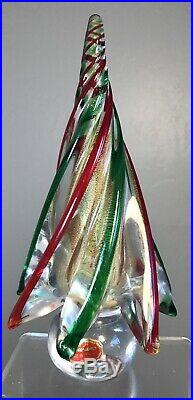 Vintage Murano Glass Christmas Tree Green Red Stripes With Gold And Label