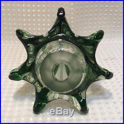 Vintage Murano Glass Christmas Tree Hand Blown Clear & Green Italian Art 9