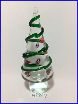Vintage Murano Glass Christmas Tree Italy Millefiori Paperweight Swirl 8 Inches