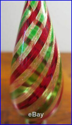 Vintage Murano Glass Christmas Tree Topper Venetian Glass Red Green Stripes. 1C