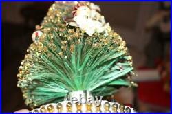 Vintage Musical Bottle Brush Christmas Tree Chenille Figures + Box Jingle Bells