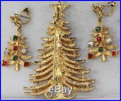 Vintage Mylu Rhinestone Christmas Tree Pin Earrings Set