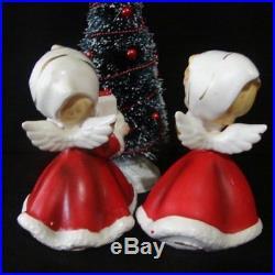 Vintage NAPCO Christmas Angel Girl Figurines w Bottle Brush Tree Lantern & Gifts