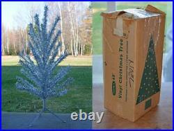 Vintage NOMA 1960s Silver VINYL CHRISTMAS TREE 48 4 feet CANADA 46 branches