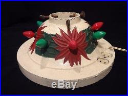 Vintage NOMA CAST IRON LIGHTED CHRISTMAS TREE STAND Painted Poinsettias