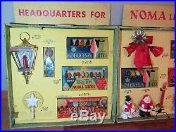 Vintage NOMA Giant Salesman Kit Display Christmas Lights Santa Bell tree top 60s