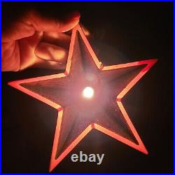 Vintage NOMA Glo-lite Metal Glitter Illuminated Christmas Tree Topper Star WithBox