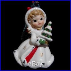Vintage Napcoware NAPCO Christmas Girl Figurines w Bottle Brush Tree