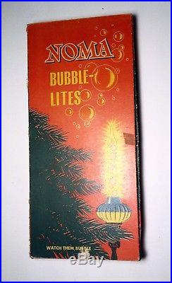 Vintage Noma Biscuit 9 Bubble Lights Set Christmas Tree In Original Box Working