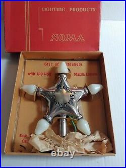 Vintage Noma Merry Christmas Star Of Bethlehem Tree Topper Light Works with Box