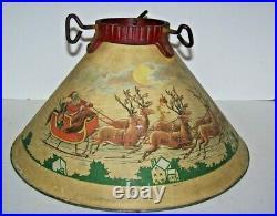 Vintage Noma Tin Litho Christmas Tree Stand Santa Reindeer 1930's