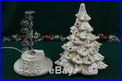 Vintage Nowell Mold 14 Tall Ceramic Christmas Tree Holly Base Two Sets Bulbs