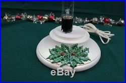 Vintage Nowell Mold 16 Tall Ceramic Christmas Tree with White Holly Base