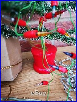 Vintage Omalite Everlasting Christmas Tree with Lights & tiny Tinsley 1940s 50s